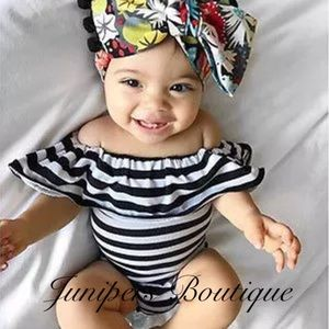 Other - Boutique Baby Girl B & W Romper